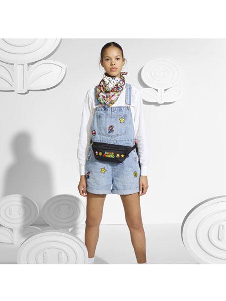 Lev's国际品牌品牌2020春夏浅蓝背带短裤