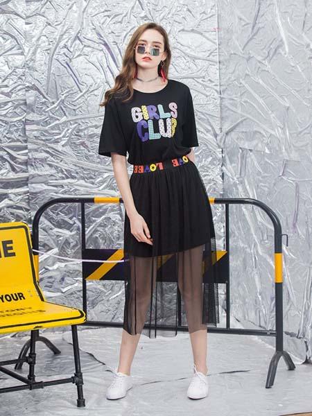 新佳娜女装品牌2020春夏黑纱半身裙