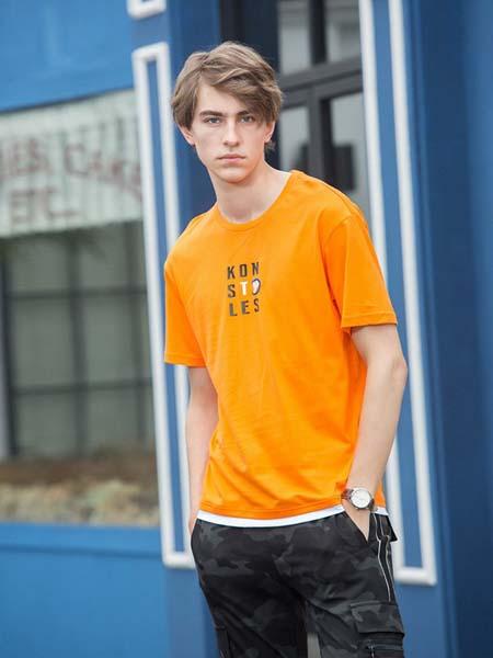新佳娜男�b品牌2020春夏橙色T恤