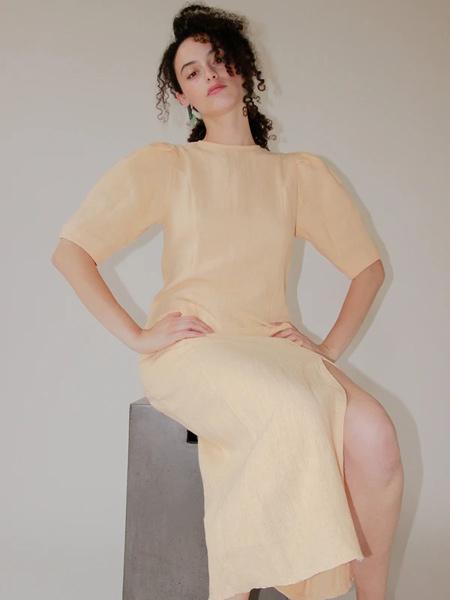Ajaie Alaie国际品牌2020春夏修身棉麻连衣裙