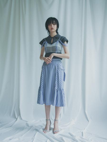 Yuki Shimane国际品牌2020春夏时尚假两件连衣裙