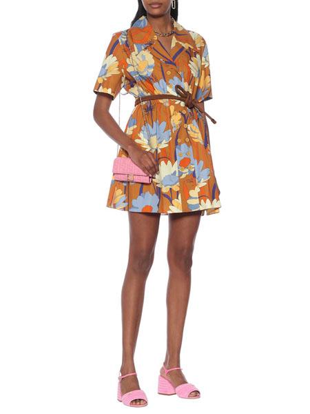 Fendi芬迪国际品牌品牌收腰花色裙子