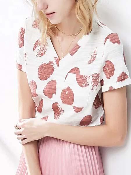 颜域女装品牌2020春夏V领针织衫