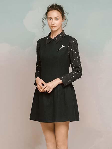 维格娜丝女装品牌2020春夏优雅黑色连衣裙
