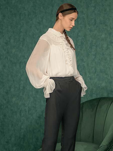 维格娜丝女装品牌2020春夏雪纺衫长袖长裤黑白