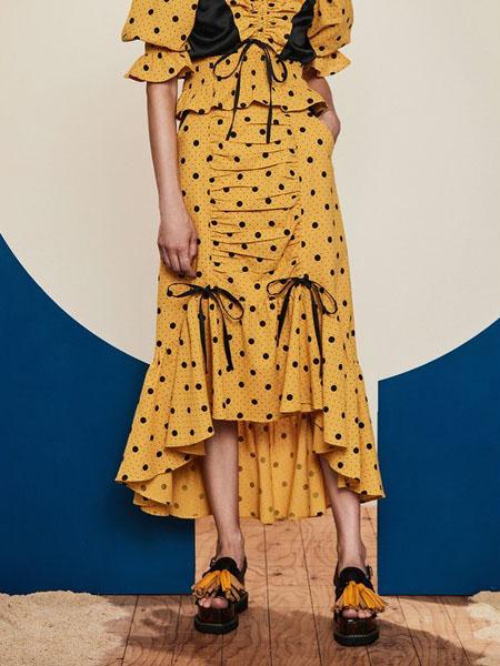 Pameo Pose国际品牌黄色波点半身裙