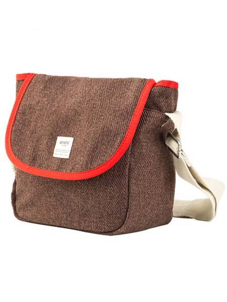 anello箱包品牌2020春夏咖啡色红边时尚女单肩包斜挎包迷你信使包