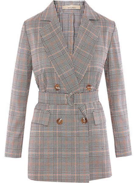 米茜尔女装品牌彩38平台2020春夏长款西装外套V领