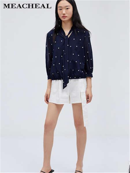 米茜尔女装品牌2020春夏波点上衣白色短裤