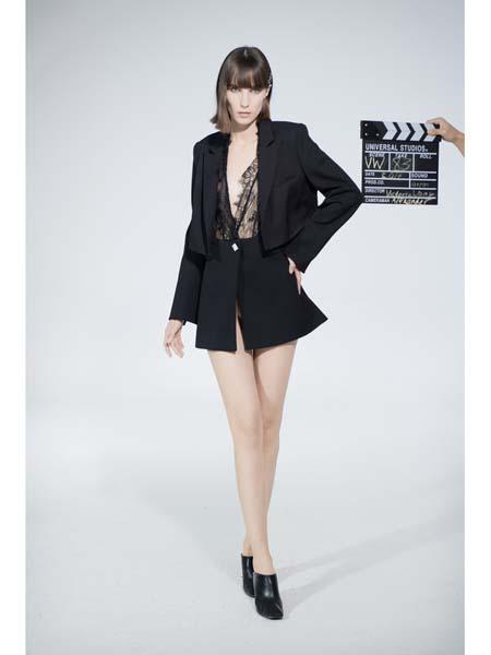 Victoria Wang国际品牌个性假两件连衣裙