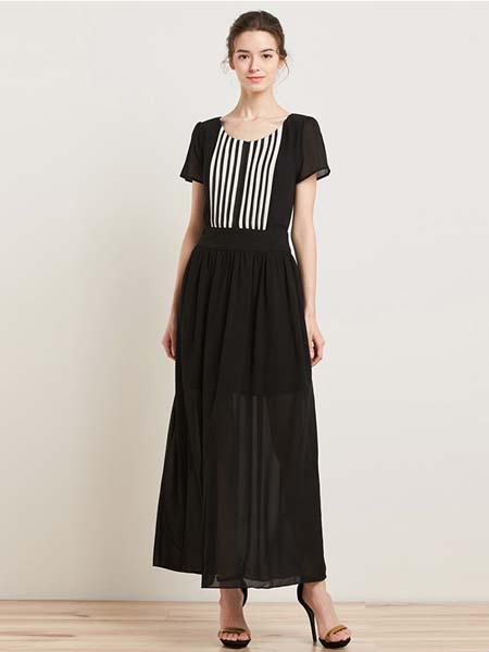埃迪拉女装品牌2020春夏拼接短袖连衣裙