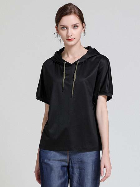 ST.ROLLER ORIGINAL国际品牌女装纯色休闲连帽短袖针织上衣直筒显瘦T恤