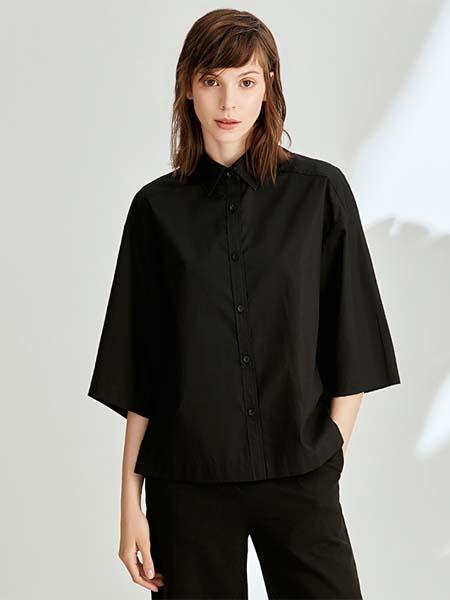 ST.ROLLER ORIGINAL国际品牌宽松气质七分喇叭袖上衣百搭全棉纯色衬衫女