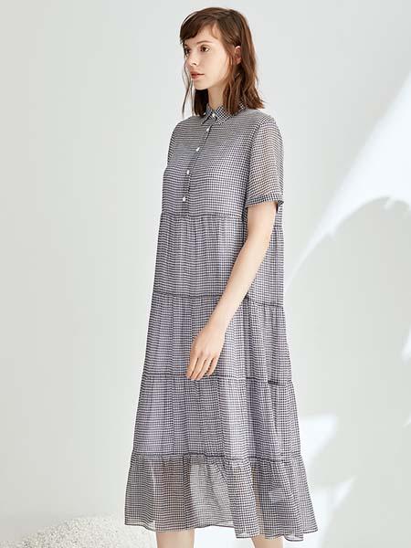 ST.ROLLER ORIGINAL国际品牌女装简约气质格子连衣裙雪纺立体裁剪衬衫裙
