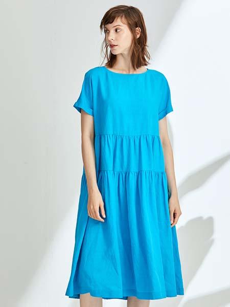 ST.ROLLER ORIGINAL国际品牌女装纯色圆领短袖连衣裙亚麻混纺长款A字裙