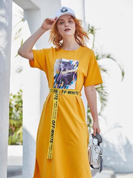 戈蔓婷女装品牌2020春夏收腰黄色连衣裙