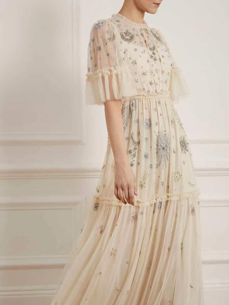 Needle & Thread国际品牌蕾丝收腰连衣裙