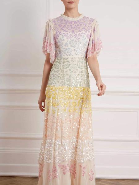 Needle & Thread国际品牌甜美彩虹色连衣裙