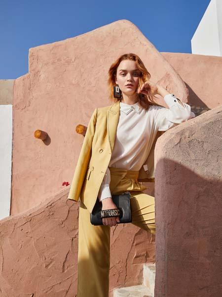 戈蔓婷女装品牌2020春夏黄色西装套装