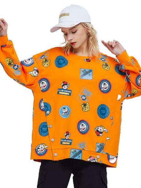 CLUBXXHH女装品牌2020春夏橙色长袖T恤