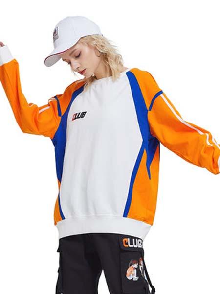 CLUBXXHH女装品牌2020春夏白色儿橙色袖子卫衣