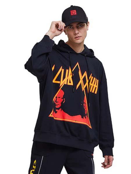 CLUBXXHH女装品牌2020春夏黑色连帽卫衣