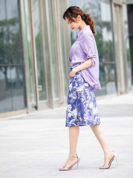 卡索女装品牌2020春夏紫色衬衫
