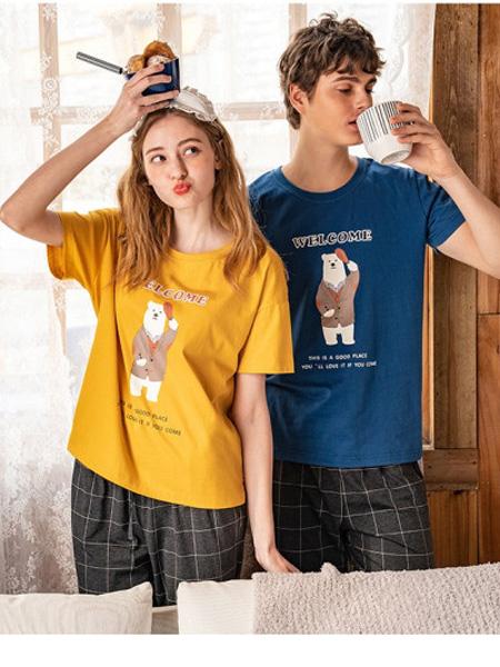 秋鹿女装品牌2020春夏女薄款纯棉中袖短裤睡衣可爱甜美套头休闲家居服套装