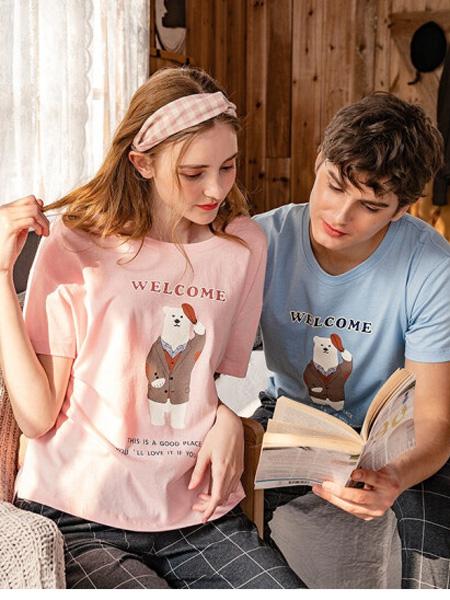 秋鹿女装品牌2020春夏情侣睡衣薄款短袖套头圆领纯棉字母卡通男女套装家居服