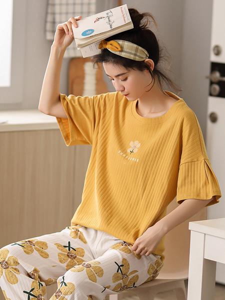 黛梦思女装品牌2020春夏睡衣女纯棉短袖长裤时尚可爱薄款少女韩版家居服季套装