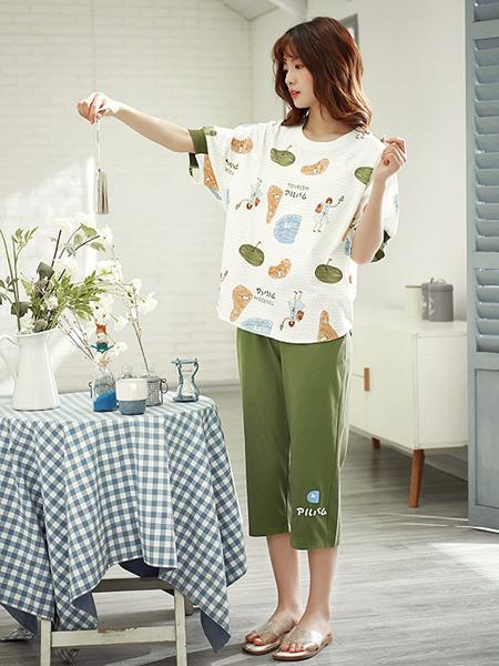 黛梦思女装品牌2020春夏薄款七分裤短袖清新可爱卡通风学生家居服套装