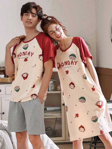 黛梦思女装品牌2020春夏薄款情侣睡衣纯棉短袖可爱少女睡裙春夏男士家居服套装