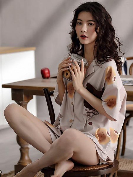 黛梦思女装品牌2020春夏纯棉中袖短裤两件套装翻领开衫夏季宽松休闲家居服