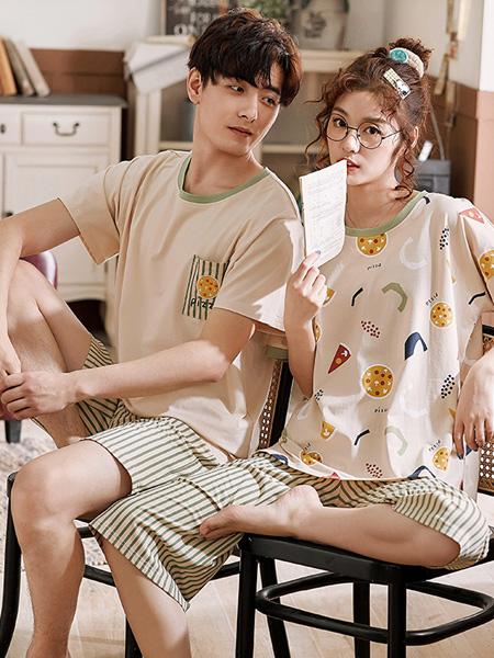 黛梦思女装品牌2020春夏薄款情侣睡衣女纯棉短袖套装可爱卡通可外穿家居服男士