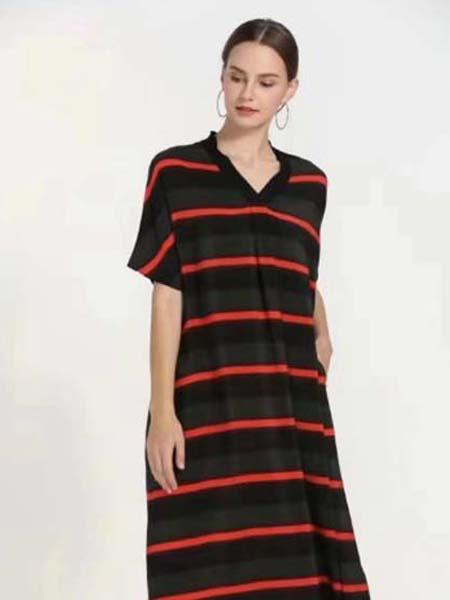 芝麻E柜女装品牌2020春夏条纹红黑底连衣裙