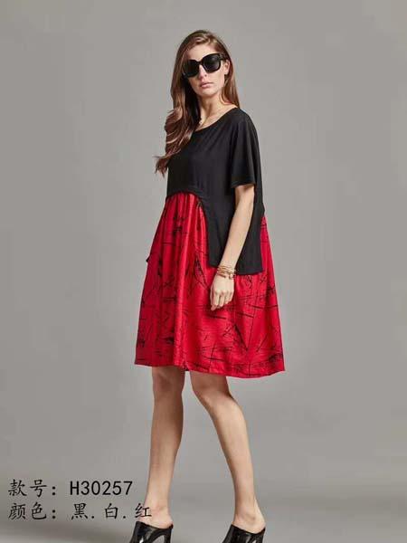 芝麻E柜女装品牌2020春夏黑色红色拼接宽松连衣裙