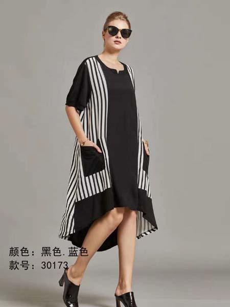 芝麻E柜女装品牌2020春夏两边条纹黑色连衣裙