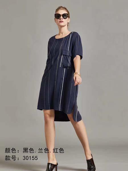 芝麻E柜女装品牌2020春夏竖纹深蓝色连衣裙