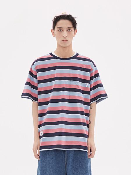 VIISHOW男装品牌2020春夏新款短袖T恤男 潮牌男士条纹半袖圆领上衣学生装