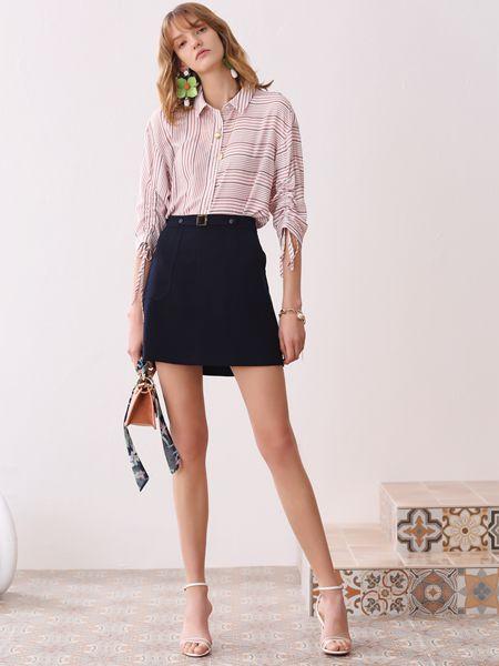 百图女装品牌2020春夏条纹衬衫短裙