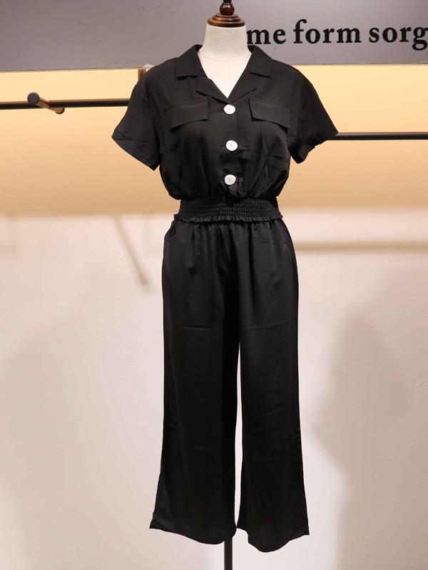 搜谷女装品牌2020春夏黑色V领工装套装通勤装休闲装