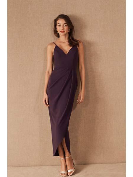 BHLDN女装品牌2020春夏雪纺丝绸吊带裙