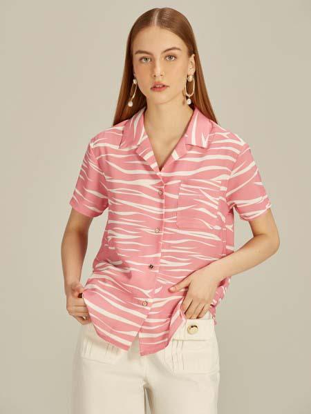 Jaspal国际品牌品牌2020春夏时尚条纹复古衬衫短袖
