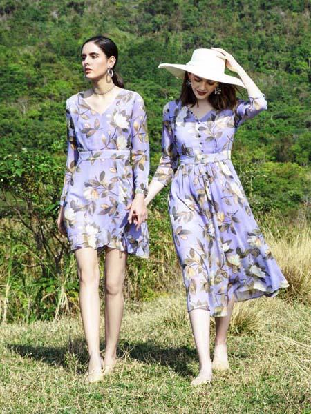 依歌女装品牌2020春夏枝叶花朵紫色连衣裙