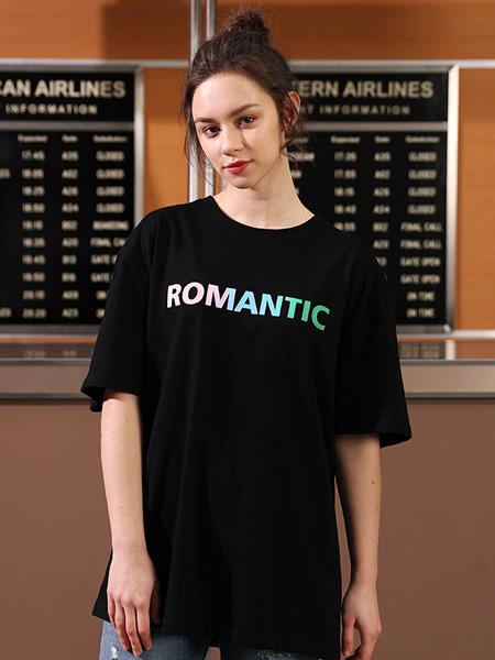 allin男装品牌2020春夏情侣装T恤新款简约百搭男装体恤宽松字母短袖上衣