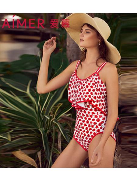 爱慕内衣品牌2020春夏花语盛夏女式海滩度假荷叶边性感美背连体泳衣