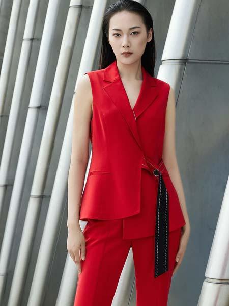 佳纷女装品牌2020春夏黑色绳结收腰红色衣裤