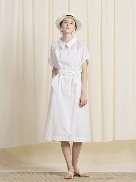 三淼女装品牌2020春夏白色收腰绳结系带连衣裙