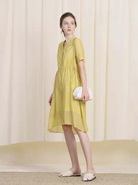 三淼女装品牌2020春夏黄色连衣裙短款
