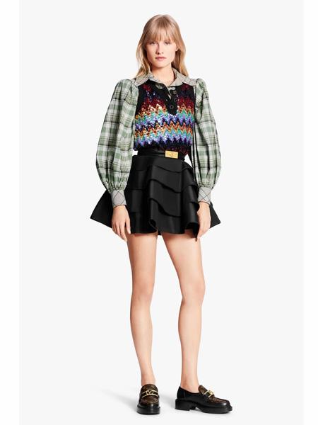 路易威登国际品牌品牌2020春夏宽松泡泡袖时尚衬衣